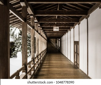 Wooden open air hallway in a traditional Japanese building in winter in Koyasan, Japan