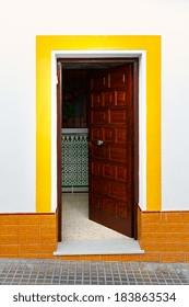 Wooden Open Door in Spanish City