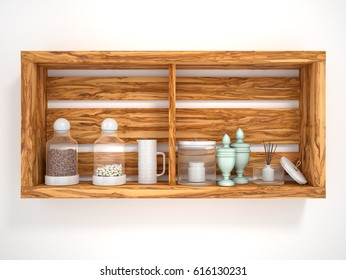 Wooden open shelves with decorative objects. 3d illustration
