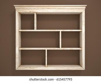 Wooden open shelves on a dark wall. 3d illustration