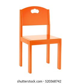 Wooden orange chair for children isolated on white background.