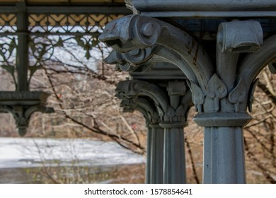 A wooden ornament in a bandstand at Central Park, New York