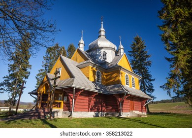 Wooden Orthodox church in Gladyszow, Beskid Niski, Poland