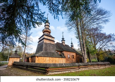 Wooden orthodox church in Ropica Gorna, Beskid Niski, Poland