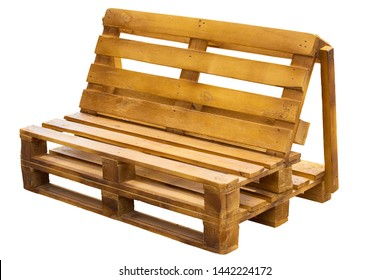 Wooden outdoor bench made from industrial pallets. Isolated on white. Pallet furniture do it yourself (handmade)