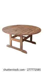 A wooden outdoor table isolated on a white background