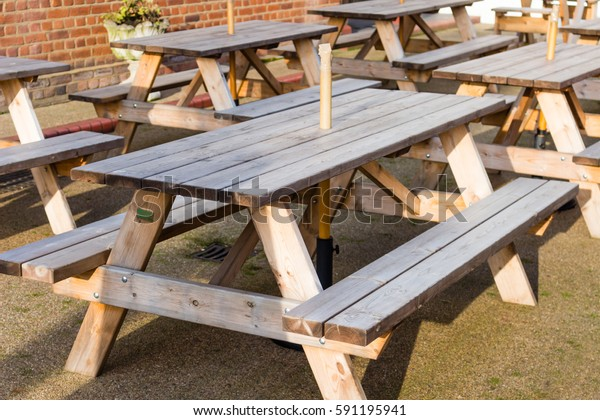 Terrific Wooden Outdoor Tables Benches Attached Place Stock Photo Ibusinesslaw Wood Chair Design Ideas Ibusinesslaworg