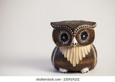 Wooden owl statue