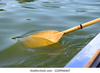 wooden paddle in the water