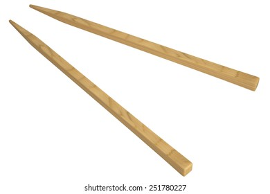 Wooden pairs of chopsticks. Isolated on white background. 3d
