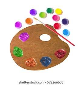 wooden palette with color paints and brush isolated on white background