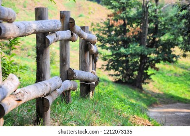Wooden palisade along nature trail in natural environment. Selective focus.