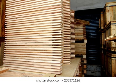 Wooden pallet bunch in warehouse