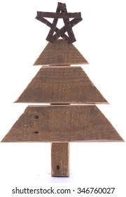 Wooden Pallet Christmas Tree with Star on White