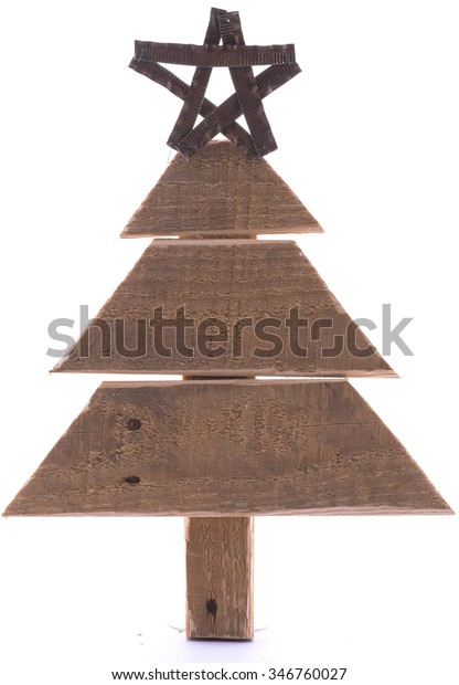 Wooden Pallet Christmas Tree Star On Stock Photo Edit Now 346760027