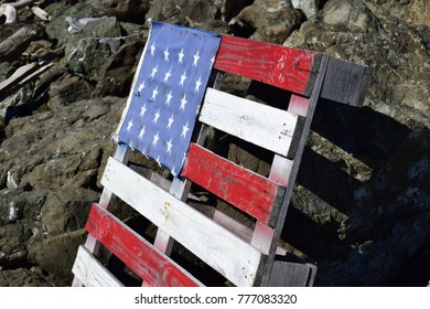 wooden pallet decorated as an american flag
