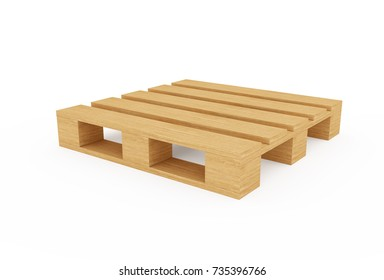 Wooden pallet isolated, 3d rendering