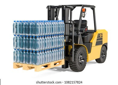 Wooden pallet with water bottles wrapped in the shrink film on the forklift truck 3D rendering isolated on white background