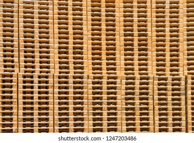 Wooden pallets at the plant