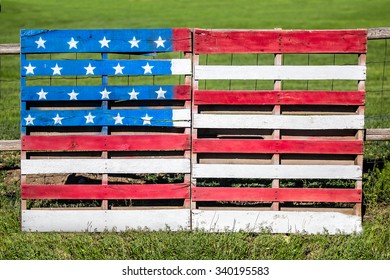 Wooden pallets repurposed and painted with the American flag celebrate the American spirit.