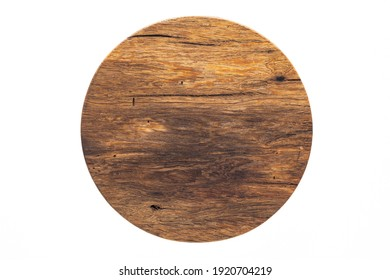 Wooden pallets with round planks.  Round wooden chopping board.  Texture of old wooden planks.