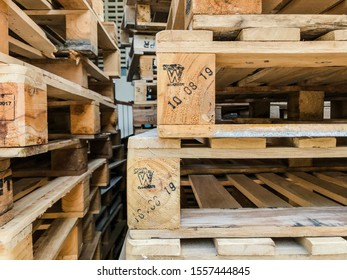 Wooden pallets in the warehouse.