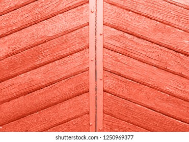 wooden pannels colored in color of year 2019 Living Coral background. Bright Macro color 16-1546 background. Retro gate background