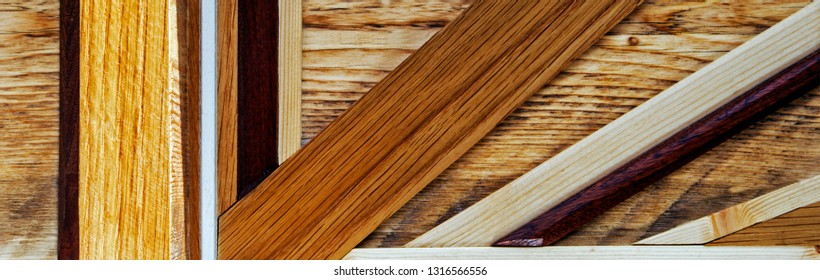 Wooden panorama / header / banner / background - for marquetry, design, and arts & crafts
