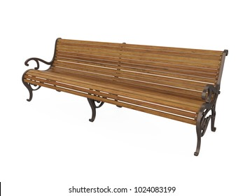 Wooden Park Bench Isolated. 3D rendering