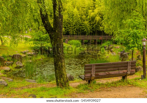 Superb Wooden Park Bench Next Small Pond Stock Photo Edit Now Bralicious Painted Fabric Chair Ideas Braliciousco