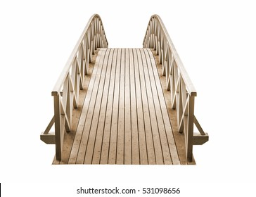 wooden Park foot bridge isolated on a white background