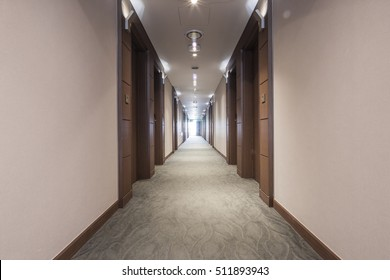 A wooden passage(way, path, passageway, hallway, aisle) with a bedroom at the hotel in seoul, korea.
