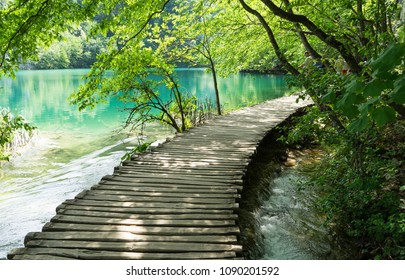 Wooden path across the lake at Plitvice Lakes National Park in Croatia