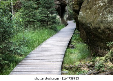 Wooden path in Adrspach Rock City National Park (skalne mesto) in Czech Republic, Europe