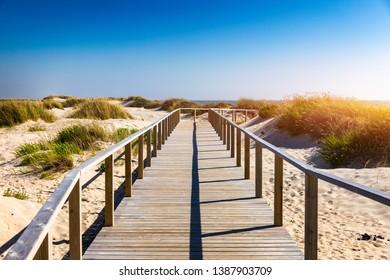 Wooden path at Costa Nova d'Aveiro, Portugal, over sand dunes with ocean view, summer evening. Wooden footbridge of Costa Nova beach in a sunny day. Aveiro, Portugal.