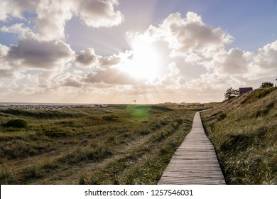 Wooden path heading along the coastline of Amrum Germany.