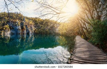 Wooden path with natural flare inside the Plitvice Lakes National Park. Croatia. Europe.