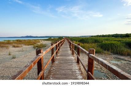 Wooden path in nature park by lake  Lake Vrana, Vransko jezero, Croatia  Bird watching park, beauty in nature  - Shutterstock ID 1919898344