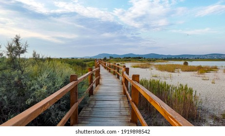 Wooden path in nature park by lake  Lake Vrana, Vransko jezero, Croatia  Bird watching park, beauty in nature  - Shutterstock ID 1919898542