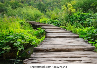 Wooden path in Plitvice Lakes National Park. Croatia