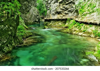 Wooden path in Vintgar gorge, Slovenia