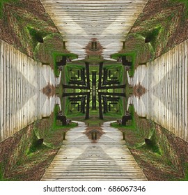 Wooden paths in the enchanted forest, Symmetrical photographs,  magical realism, surreal photography, abstract, magical picture just for crazy