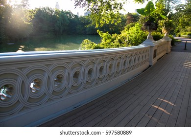Wooden pathway of Bow bridge at Central Park