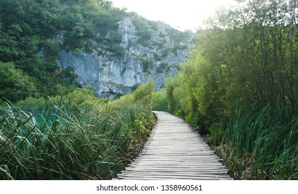 Wooden pathway over the water, Plitvice Lakes in Croatia, National Park