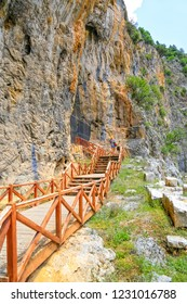 Wooden pathway stairs leading to the Zindan Cave. Many domestic and foreign tourists visit the cave. It is at the entrance of the cave. Isparta-Turkiye June 2018