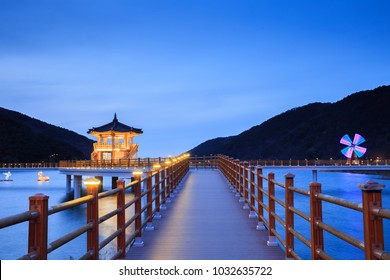 Wooden Pavilion And Blue Sky In Daegu City Dalseong Gun South Korea
