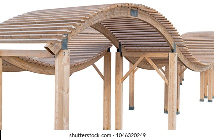 Wooden pavilion, wood pergola for sun protection on the beach on white background