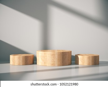 Wooden pedestal for display,Platform for design,Blank product stand with empty room.3D rendering.