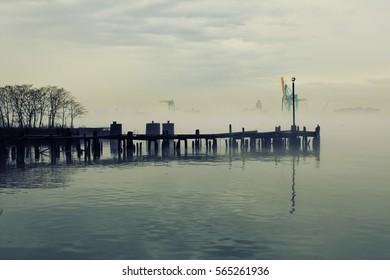 Wooden peer in a deep fog - Philadelphia, PA