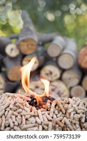 Wooden pellets and pile of wood in flames